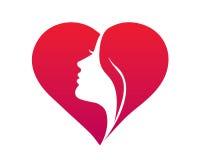 Natürliche organische Schönheits-weibliches Gesichts-Logo Lizenzfreie Stockfotos