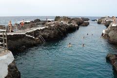 Natürliche Pools Garachicos in Teneriffa-Insel Stockfotografie