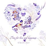 Natürliche Postkarte des lila Aquarells Natürliche cliparts für Heiratsdesign, künstlerische Schaffen stockbild