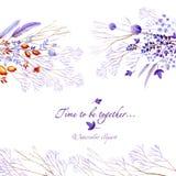 Natürliche Postkarte des lila Aquarells mit horizontalen Elementen Natürliche cliparts für Heiratsdesign, künstlerische Schaffen Stockfotografie