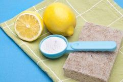 Natürliche Reinigung mit Zitronen und Backen-Soda stockfoto