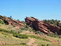 Natürliche rote Rocksandsteinformationen in Morrison Colorado Stockbilder