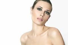 Natürliche Schönheitsfrauen im weißen Hintergrund Lizenzfreie Stockbilder