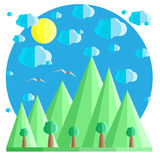 Natürliche Sommerlandschaft in der flachen Art Berge und Bäume, Wolken und Sonne Beispiel für Karte, Fahne, Ausweis Lizenzfreie Stockfotos