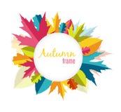 Natürliche Sunny Autumn Leaves Frame Background Vector-Illustration Lizenzfreie Stockfotografie