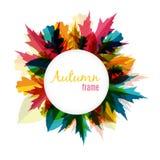 Natürliche Sunny Autumn Leaves Frame Background Vector-Illustration Stockbild