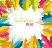 Natürliche Sunny Autumn Leaves Frame Background Vector-Illustration Stockfotos