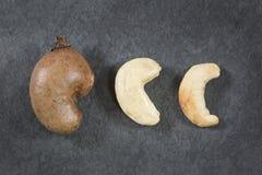 Natürliche und gebratene Acajounuss - Anacardium occidentale Stockfotografie