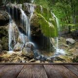 Natürlicher Frühlings-Wasserfall Stockfoto