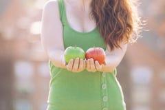 Natürlicher grüner und roter Apfel Stockbild
