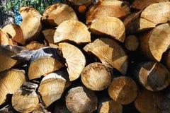 Natürlicher hölzerner Hintergrund - Nahaufnahme des gehackten Brennholzes Brennholz gestapelt und für Winter Stapel von hölzernen Lizenzfreies Stockfoto