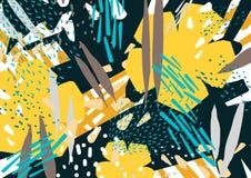 Natürlicher horizontaler Hintergrund mit bunten abstrakten Flecken, Abstrichen und Blumen Helles farbiges botanisches dekoratives vektor abbildung
