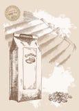 Natürlicher Kaffee im Paket Stockbilder