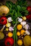 Natürliches Bauernhofgemüse Knoblauch, Zwiebeln, Tomaten, Grüns Stockbild