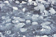 Natürliches Eis im Ob Fluss, Sibirien, Januar 2007 Schneewinterhintergrund Stockfotos