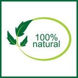Natürliches Logo und Symbol des Vektors 100% Stockbilder