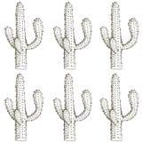 Natürliches nahtloses Muster mit Hand gezeichnetem Kaktus Stockfoto