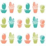 Natürliches nahtloses Muster mit Hand gezeichnetem Kaktus Lizenzfreie Stockfotos