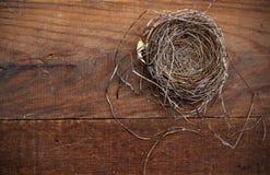 Natürliches Nest auf verwittertem Brett Stockfotos
