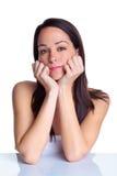 Natürliches Portrait einer attraktiven Brunettefrau stockbilder