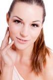 Natürliches Schönheitsgesichts-Nahaufnahmeporträt lizenzfreie stockfotos