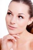 Natürliches Schönheitsgesichts-Nahaufnahmeporträt stockfoto
