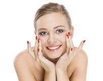 Natürliches Schönheitsmädchen mit gutem Hautlächeln Lizenzfreie Stockfotos