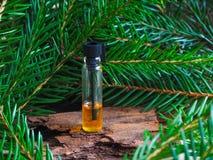 Natürliches Tannenöl in einer Miniflasche Ein Massageöl stockfoto