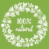 100% natürliches Vektorzeichen auf grünem Hintergrund stock abbildung