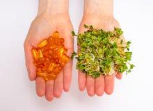 Natürliches Vitamin gegen Ergänzungen Die gesunde Diät lizenzfreies stockfoto