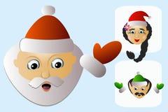 Natürliches zufälliges tägliches gewöhnliches grundlegendes des Santa Claus-Ikonenkopfes vereinfacht mit Frau und Elfe Lizenzfreie Stockfotografie