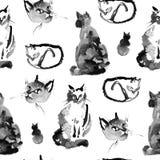 Nat aan nat waterverf naadloos patroon van de pluizige Siberische kat op witte achtergrond Inzameling van leuke kat binnen Royalty-vrije Stock Foto