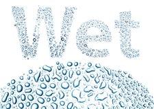Nat gemaakt van waterdalingen, achtergrond op wit royalty-vrije illustratie
