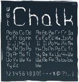 Nat krijt cyrillisch en Latijns alfabet Reeks in hoofdletters, kleine letters, aantallen en speciale symbolen Naadloos hoog gedet vector illustratie