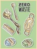 Nat?rliche materielle Duscheinzelteile ?kologisches und Nullabfallprodukt Gr?nes Haus und Plastik-freies Leben stock abbildung