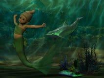 Natação bonita da sereia debaixo do oceano ilustração royalty free