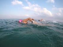 Natação da água aberta dos coachers de Swimm fotografia de stock