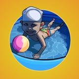 Natação da criança dos desenhos animados na associação com uma bola Imagens de Stock
