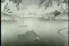 Natação da rã na lagoa ilustração do vetor