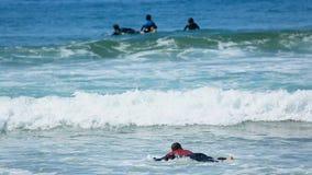 Natação do indivíduo na placa surfando no mergulho do oceano na onda, novato que aprende a ressaca vídeos de arquivo