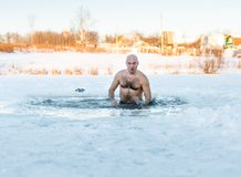 Natação do inverno Homem no gelo-furo Fotografia de Stock Royalty Free