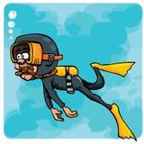 Natação do mergulhador dos desenhos animados subaquática ilustração stock