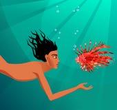 Natação do mergulhador e dos peixes Fotos de Stock Royalty Free