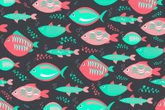 A natação pesca o teste padrão bonito ilustração stock