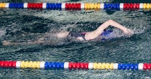 Natación de la muchacha en la piscina imagen de archivo