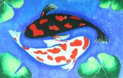 Natación de los pescados de Koi en la pintura del agua Imagen de archivo libre de regalías