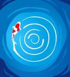 Natación de los pescados de Koi dentro de una charca circular Imagenes de archivo
