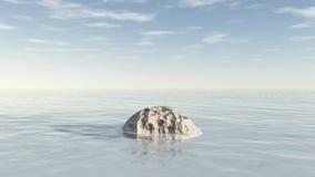 Natación de piedra del meteorito en el océano Imagen de archivo libre de regalías