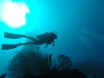 Natación del buceador en el océano Imagenes de archivo