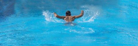 Natación del hombre en la piscina solamente Estilo de la mariposa Vacaciones de verano Fotografía de archivo libre de regalías